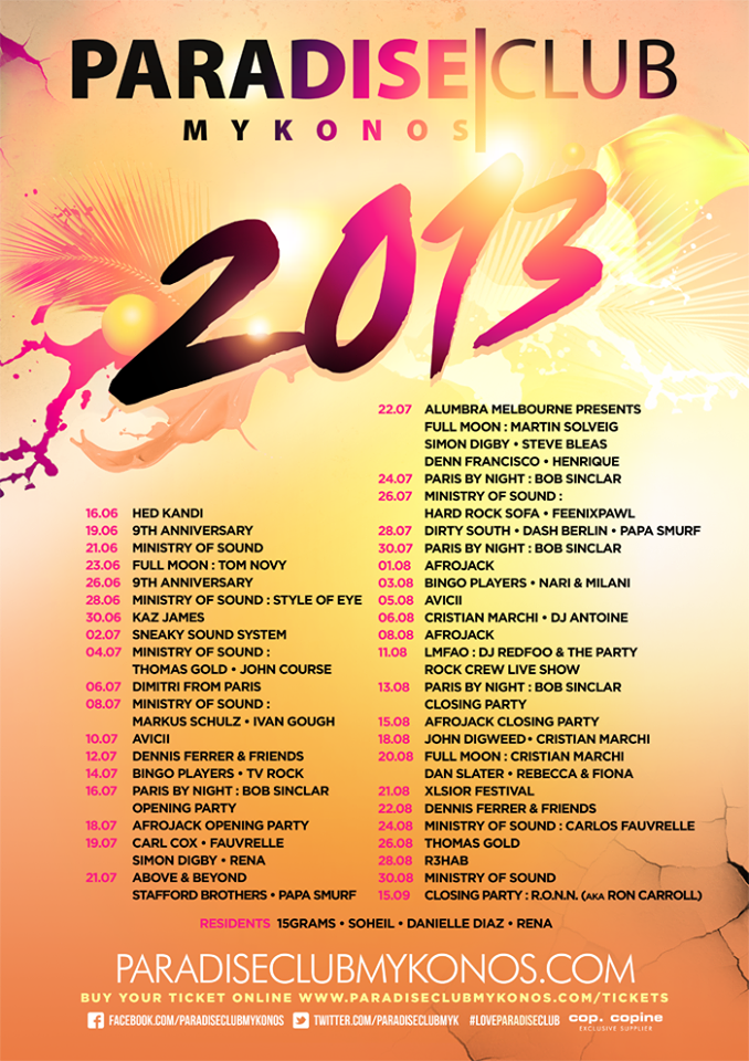 Paradise Club Programm Summer 2013